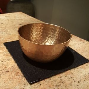 Beautiful Hammered Brass Tone Decorative Bowl